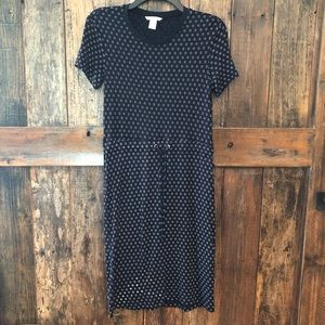 H&M, XS, Navy & White Cinch Waist Dress